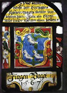 «Dieses Kirchenfenster in der Maria-Magdalenen-Kirche spendete 1527 Jürgen Vaget, Sohn des Island-Gouverneurs. Quelle: Jan-Uwe Schadendorf»